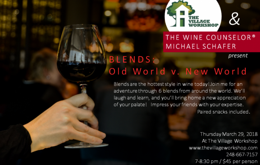 The Old World (Europe) began blending grapes a very long time ago. The New World (the rest of the planet) has it's own style of blended wines. You'll compare & contrast three wines from each