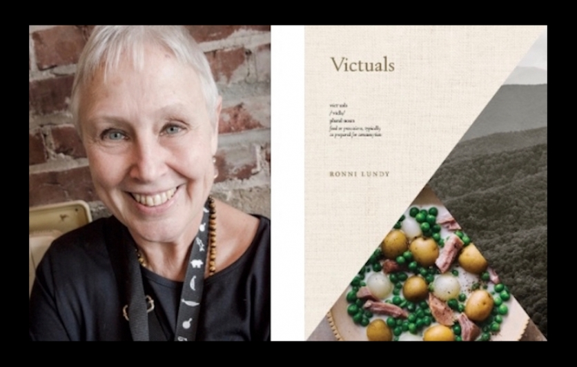 Ronni Lundy with her award-winning cookbook, Victuals.