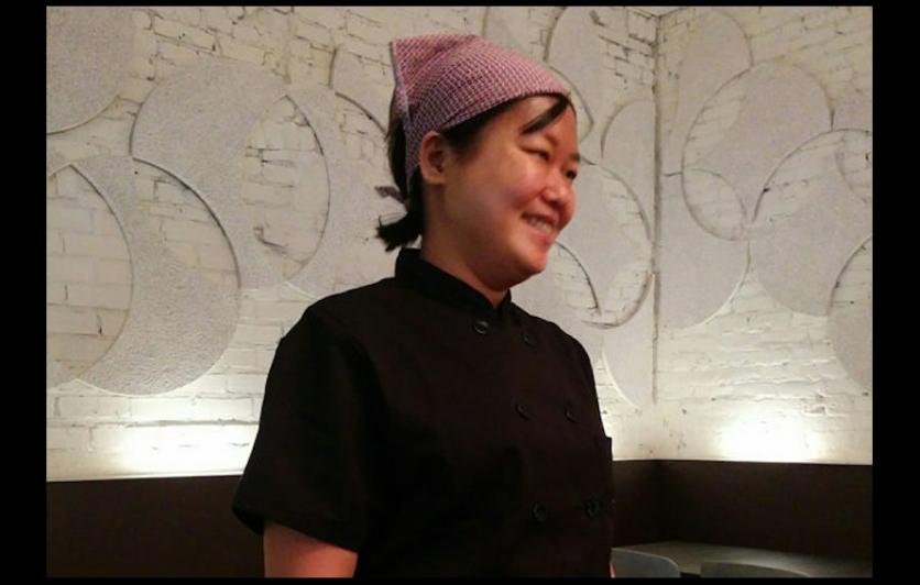 Chef Ji Hye Kim in her dining room at Miss Kim restaurant.