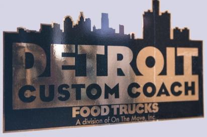 Detroit Custom Coach food trucks sign