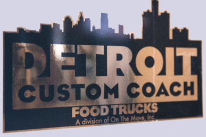 Detroit Custom Coach food trucks sign